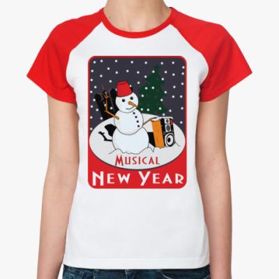 Женская футболка реглан Музыкальный Новый Год