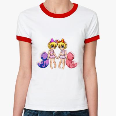 Женская футболка Ringer-T Чибики с  мишкой