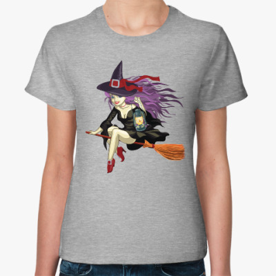 Женская футболка Ведьмочка на метле
