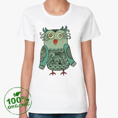 Женская футболка из органик-хлопка Лесная совушка