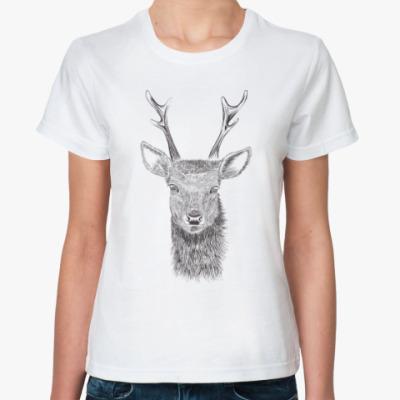 Классическая футболка Олень лось deer