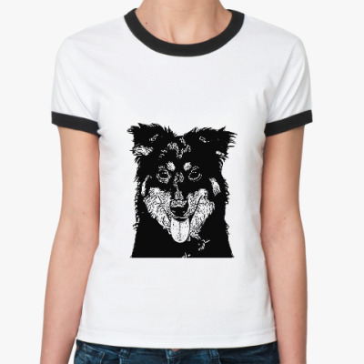 Женская футболка Ringer-T Собака - улыбака