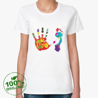 Женская футболка из органик-хлопка ОТПЕЧАТКИ