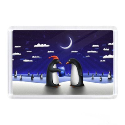 Магнит Пингвины рождественские