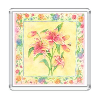 Магнит  Цветы в рамке1