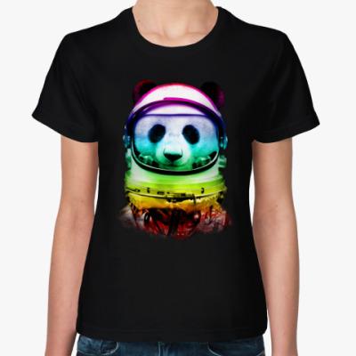 Женская футболка Панда Космонавт