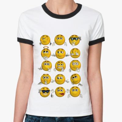 Женская футболка Ringer-T Смайлики