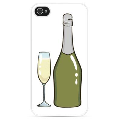 Чехол для iPhone Бутылка шампанского и бокал