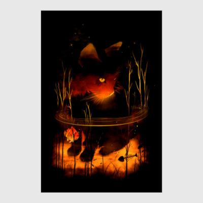 Постер Ночной пруд