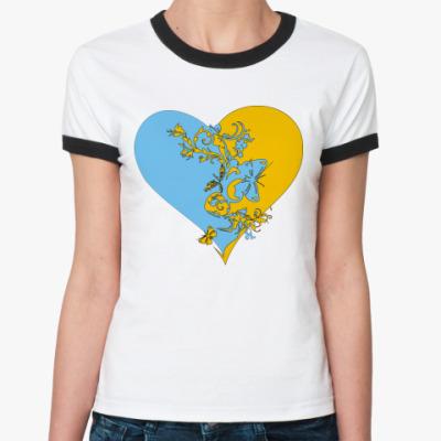 Женская футболка Ringer-T сердце пополам