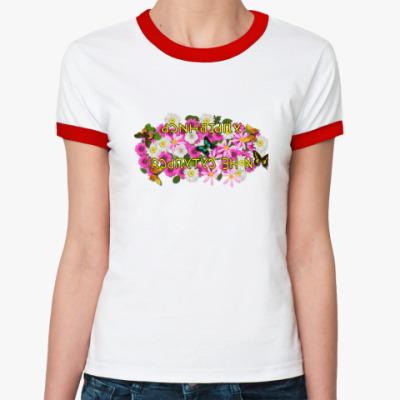Женская футболка Ringer-T  Улыбнись