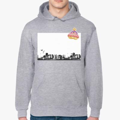 Толстовка худи НЛО над городом