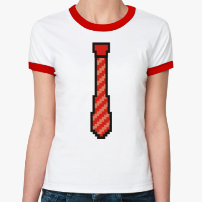 Женская футболка Ringer-T Галстук 8 бит