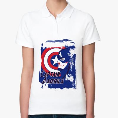 Женская рубашка поло  Капитан Америка