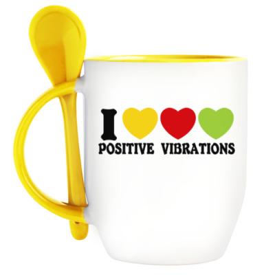 Кружка с ложкой Люблю позитивные вибрации