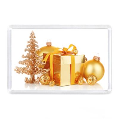Магнит Золотые подарки, шары и ёлка