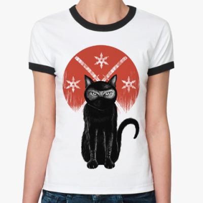 Женская футболка Ringer-T Кот Ниндзя