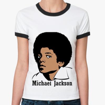 Женская футболка Ringer-T Michael Jackson в юности