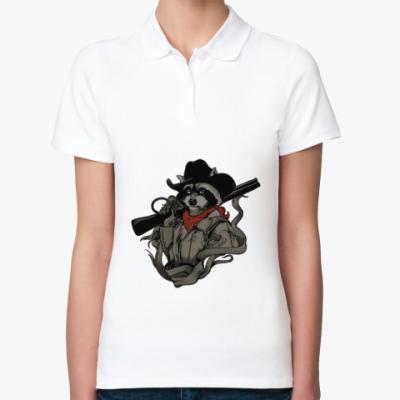 Женская рубашка поло Енот с ружьём