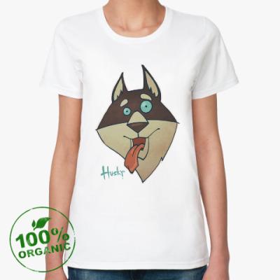 Женская футболка из органик-хлопка Crazy Хаски