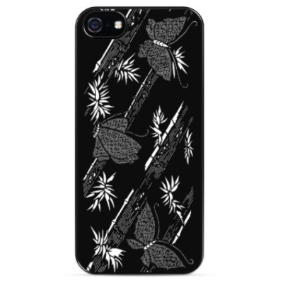 Чехол для iPhone бабочки порхают среди бамбука орнамент природа