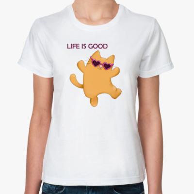 Классическая футболка Позитивный котик