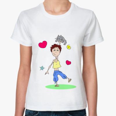 Классическая футболка Фитнес & Кот