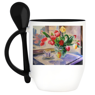 Кружка с ложкой Букет тюльпанов
