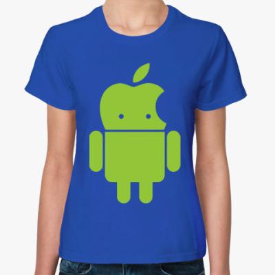 Женская футболка Андроид голова-яблоко