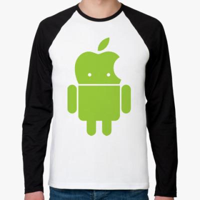 Футболка реглан с длинным рукавом Андроид голова-яблоко