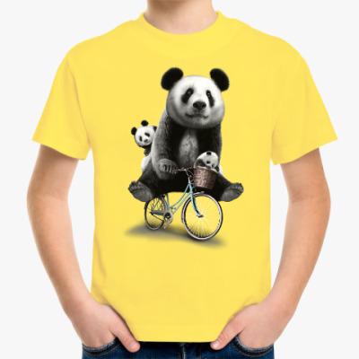 Детская футболка Панды на велосипеде