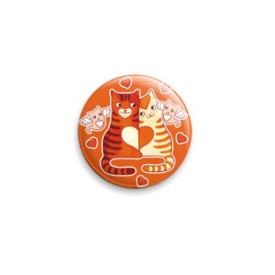 Значок 25мм Котики и сердечки на День Влюбленных 14 февраля
