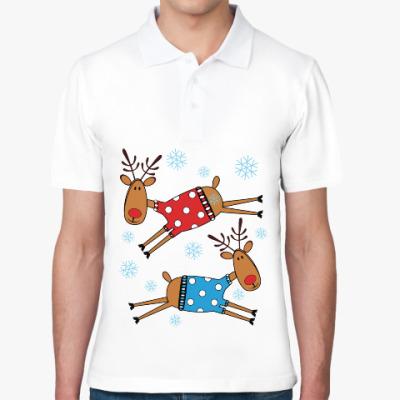 Рубашка поло Новогодние олени в свитерах