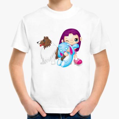 Детская футболка Девочка с колли