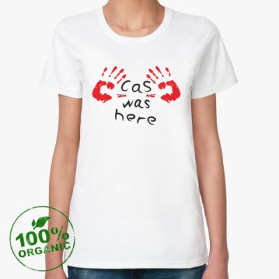 Женская футболка из органик-хлопка Здесь был Кас - Supernatural