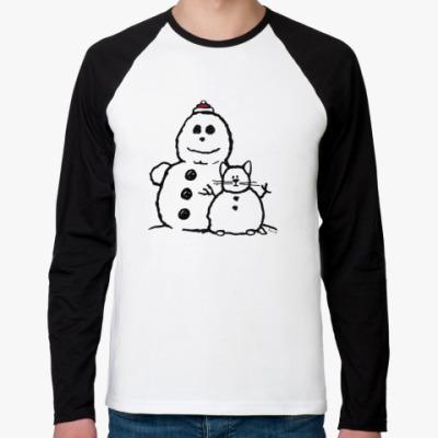 Футболка реглан с длинным рукавом Снеговики