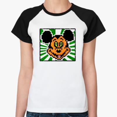 Женская футболка реглан Микки в Грибе