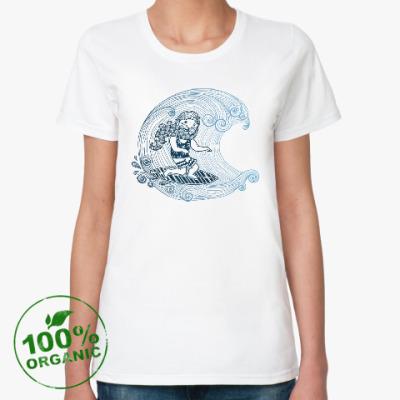 Женская футболка из органик-хлопка Бородатый серфер