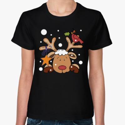 Женская футболка Новогодний олень и снегирь