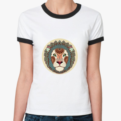 Женская футболка Ringer-T    Лев