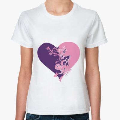 Классическая футболка сердце пополам