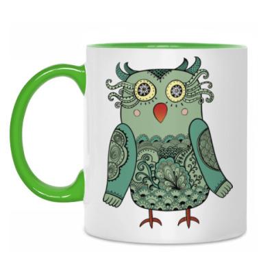 Кружка Зеленая лесная совушка