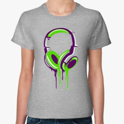 Женская футболка наушники  headphones