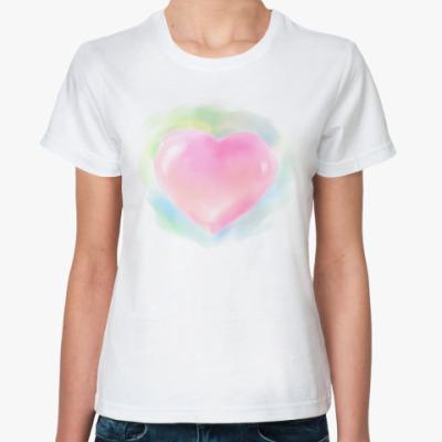 Классическая футболка Акварельное сердце