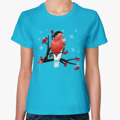 Женская футболка Снегирь