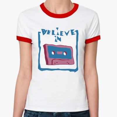 Женская футболка Ringer-T Верю в кассеты