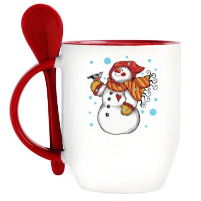 Кружка с ложкой Снеговик и снегирь