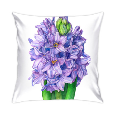 Подушка Цветок гиацинт акварель