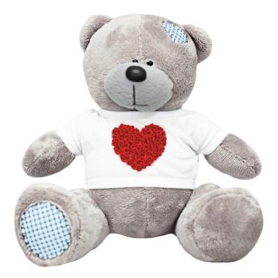 Плюшевый мишка Тедди Сердце из роз