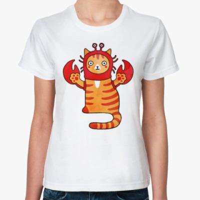 Классическая футболка Котик. Гороскоп для рака.